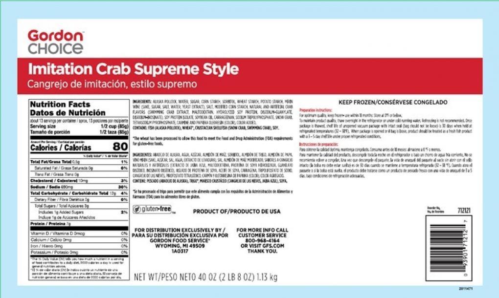 Gordon Choice Imitation Crab Recalled For Egg White Food Manufacturing